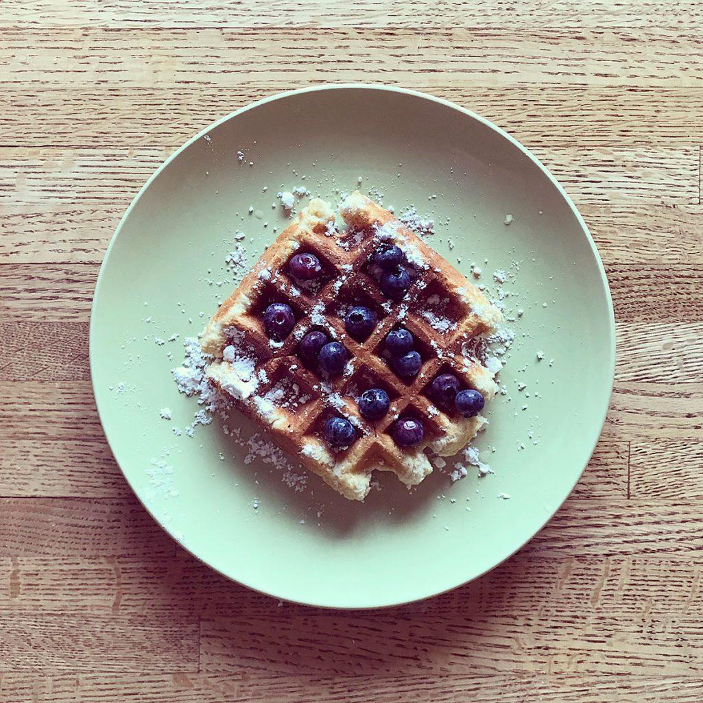 Tiny Trash Can waffle breakfast