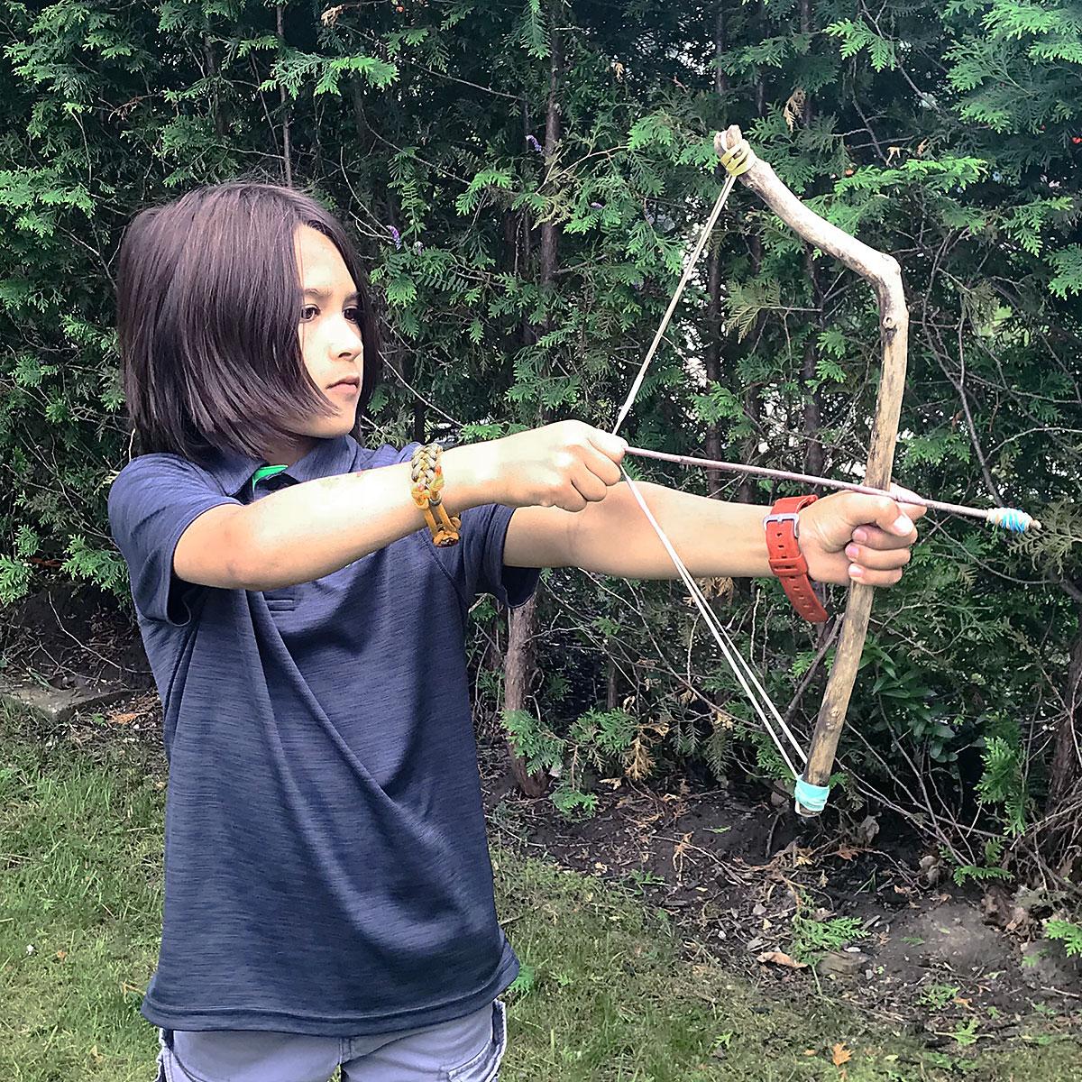 Tiny Trash Can Zero Waste Kid DIY bow and arrow