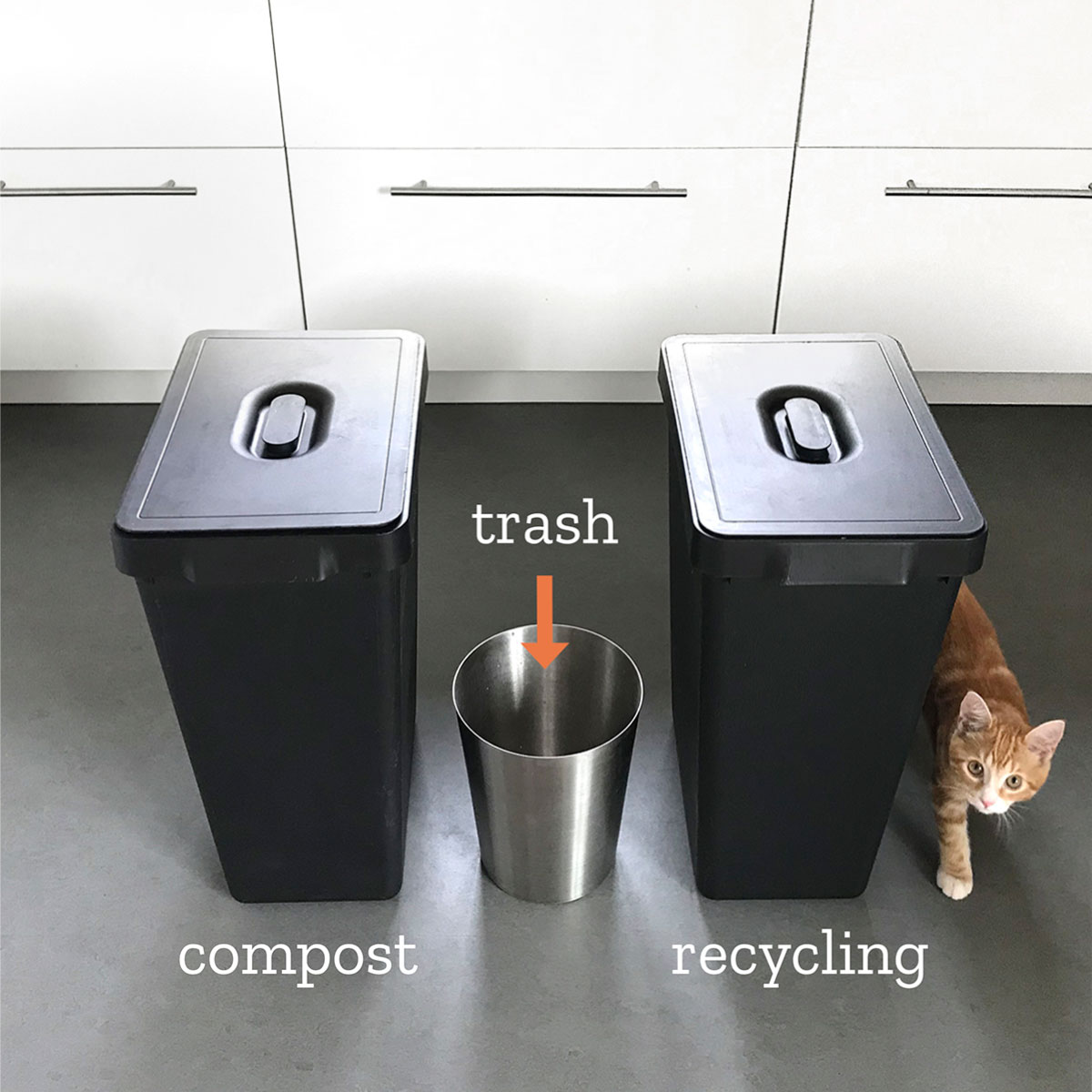 Try a tiny trash can waste sorting configuration