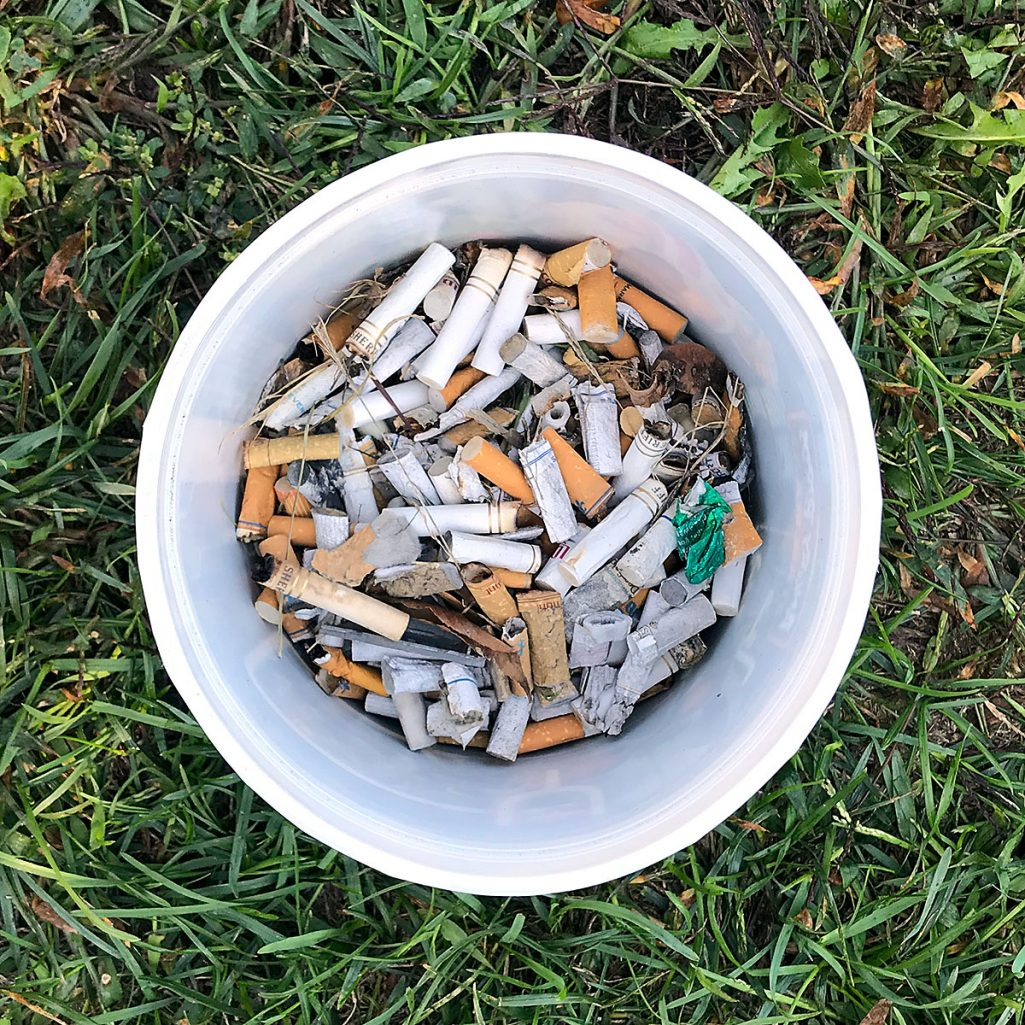 Tiny Trash Can cigarette butts most common type of litter