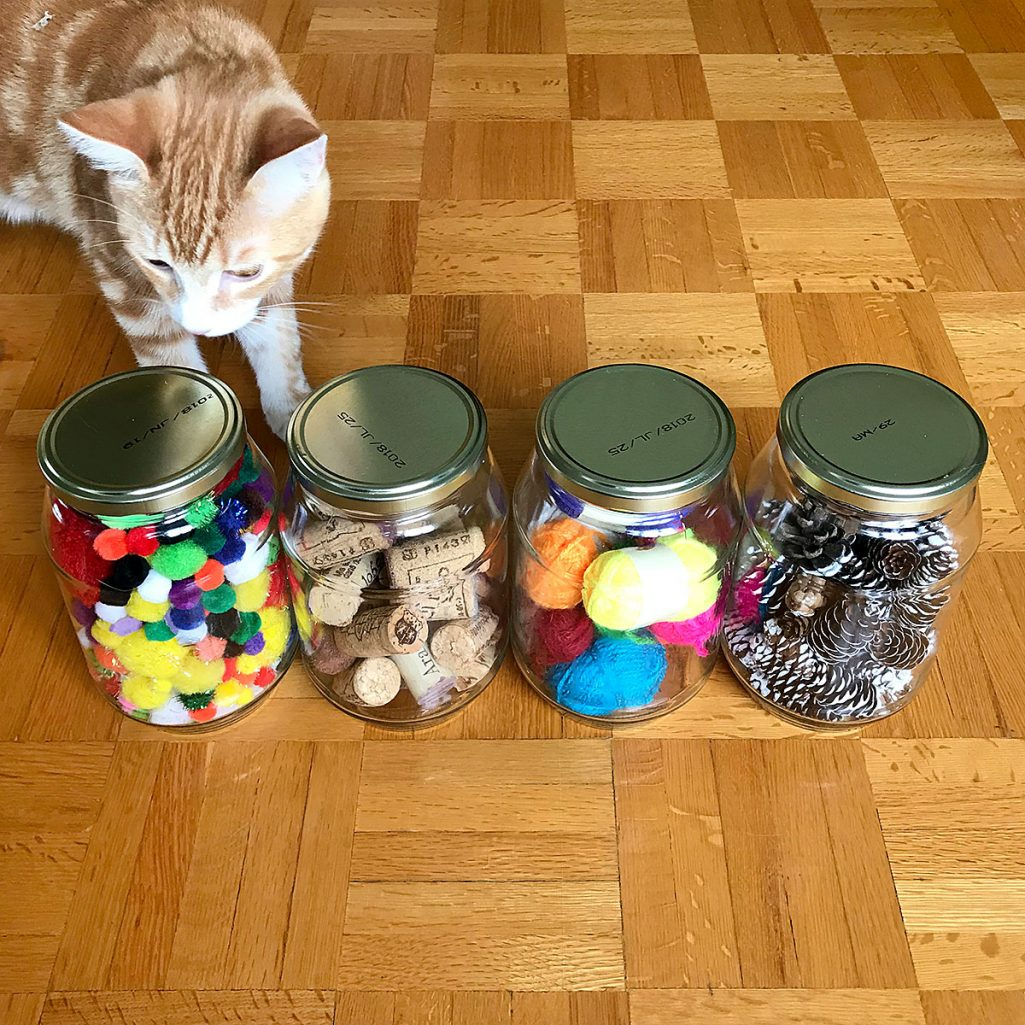 Tiny Trash Can repurpose glass jars