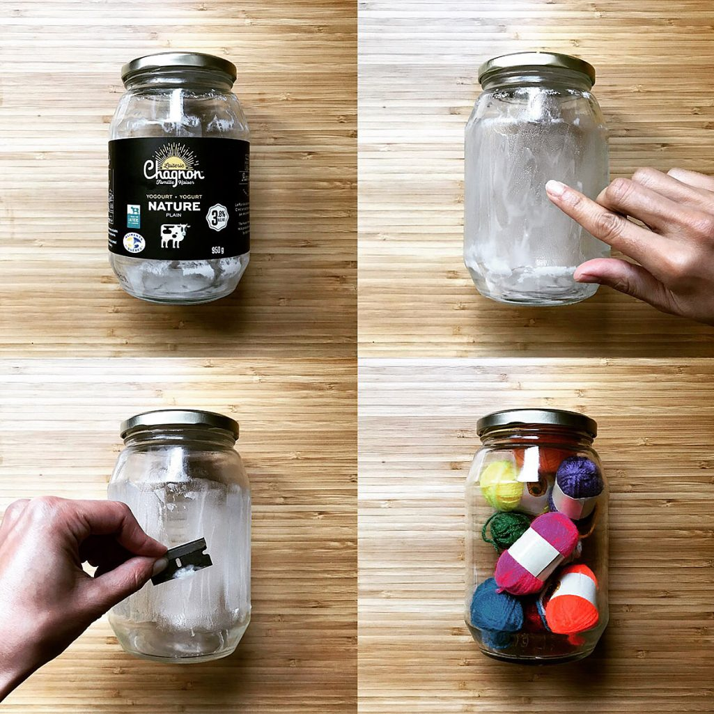 Tiny Trash Can how to remove labels from glass containers