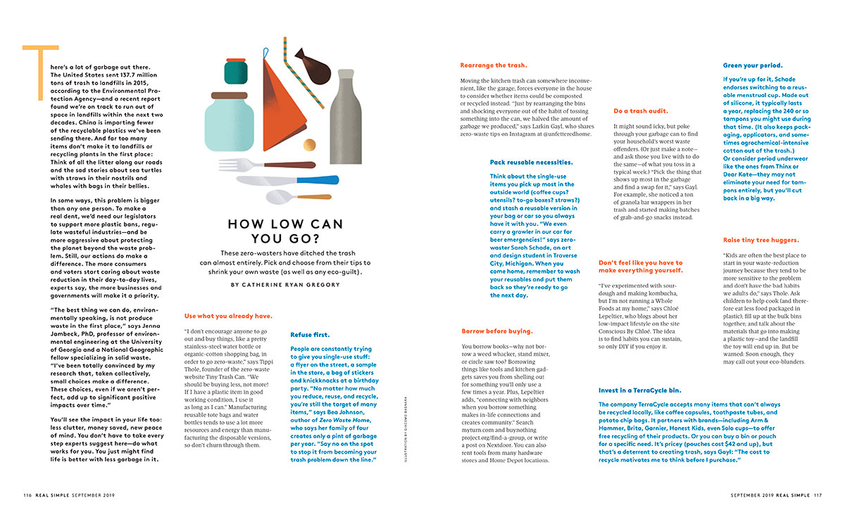 Tiny Trash Can Tippi Thole Real Simple September 2019 issue