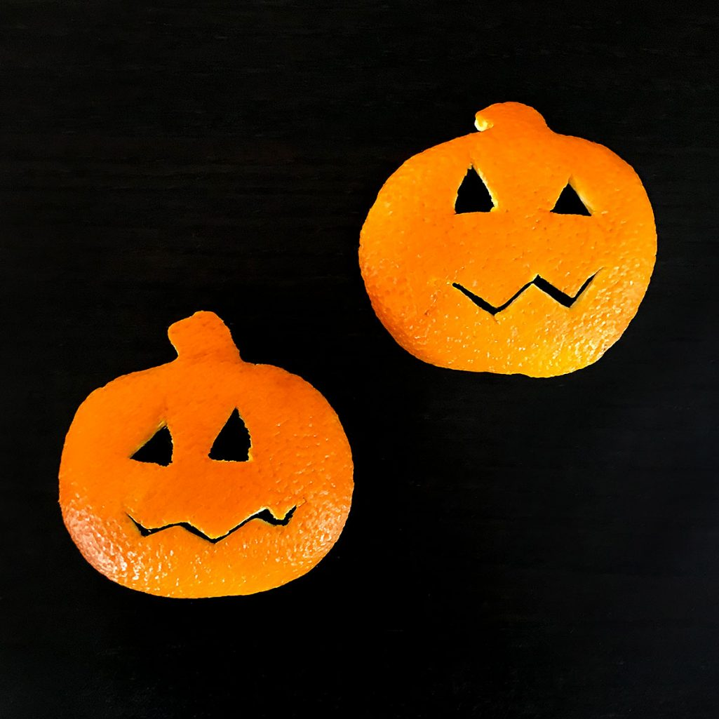 Tiny Trash Can orange peel jack-o'-lantern craft